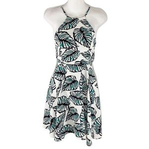 Alythea white palm print halter flare dress